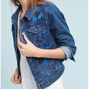 Anthropologie Pilco Sequined Denim Jacket Size M